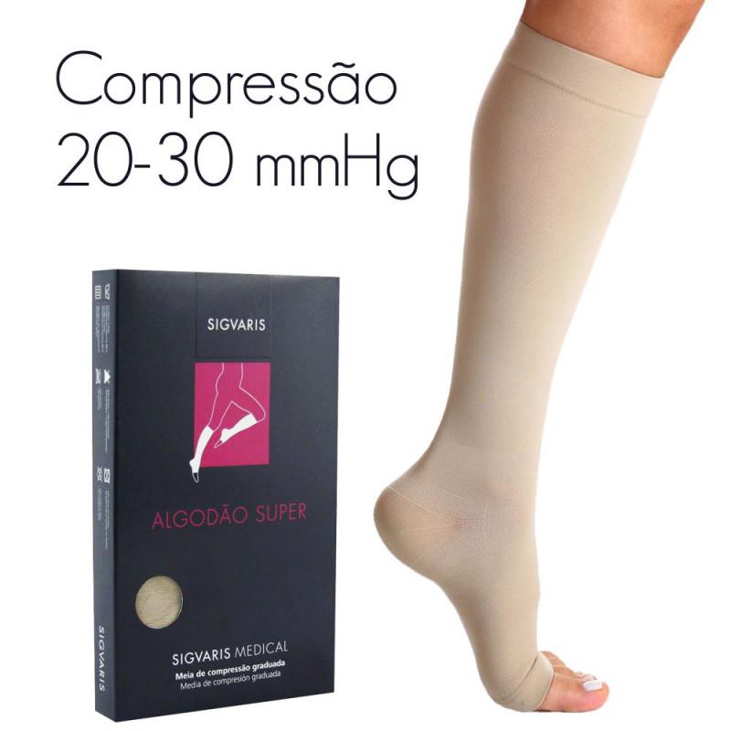 f7f8cd4cd Meia de compressão SIGVARIS ALGODÃO SUPER panturrilha 20-30 mmHg