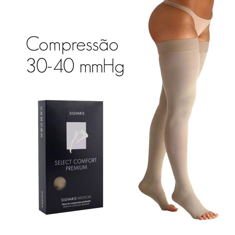 73820fb2a Meia de compressão SIGVARIS SELECT COMFORT PREMIUM Meia Coxa 30-40 mmHg